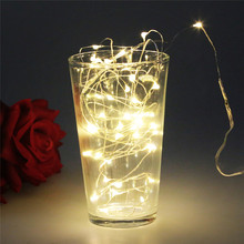 2M 20LEDS Silver led String Fairy Lights 20 Micro Starry Light for Christmas Wedding Party Decoration Button Battery Operated(China)
