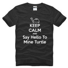 Buy KEEP CALM AND Say Hello Mine Turtle Short Sleeve Men T Shirt Size S-3XL Sleeves Cotton T-Shirt Fashion for $13.04 in AliExpress store