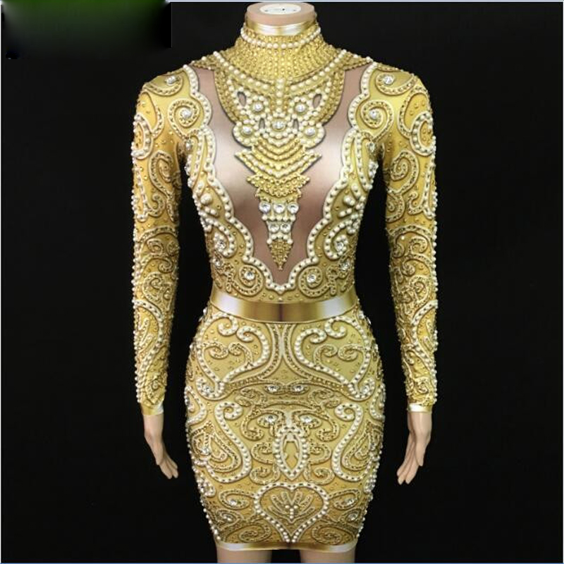 Sparkly Gold Rhinestones Pearls Long Sleeves Dress Bar Party Dance Dress Women Singer Clothes Birthday Celebrate Outfit Dress