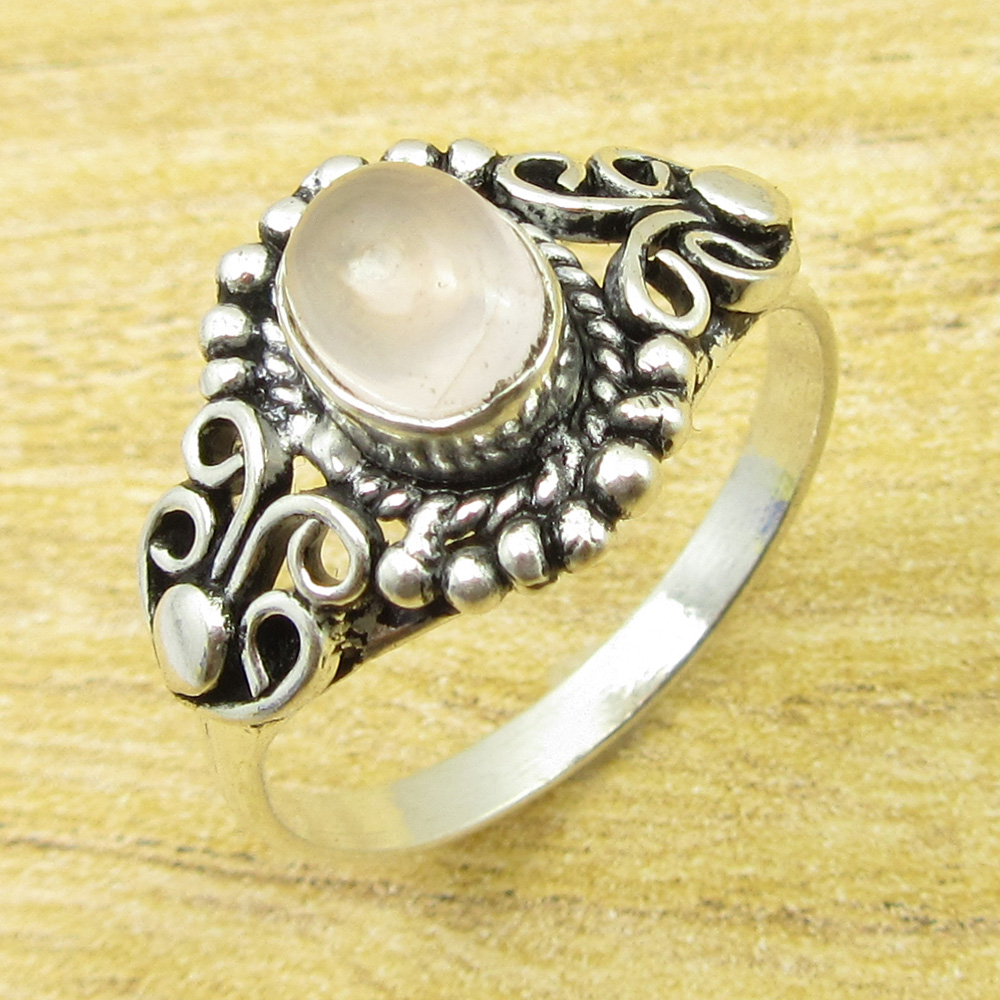 Ring Size US 6.25 ! Silver Overlay Rare Rose Quartzs MEN'S Gift ONLINE STORE(China)