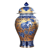 Antique Chinese Porcelalin Royal Nobility Palace Decoration Handpainted Blue and White Gold Lion Large Ceramic Ginger Jar(China)