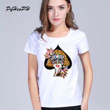 Summer women t shirt poker Queen pattern printed Short sleeve Funny T-shirt tee shirt femme Casual Hipster Shirt For Lady(China)