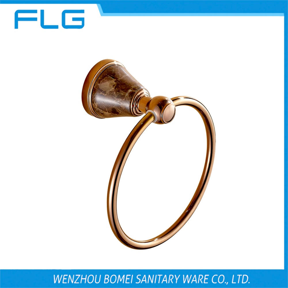 Free Shipping Bathroom Accessories Rose Gold Marble Towel Ring FLG100262<br>