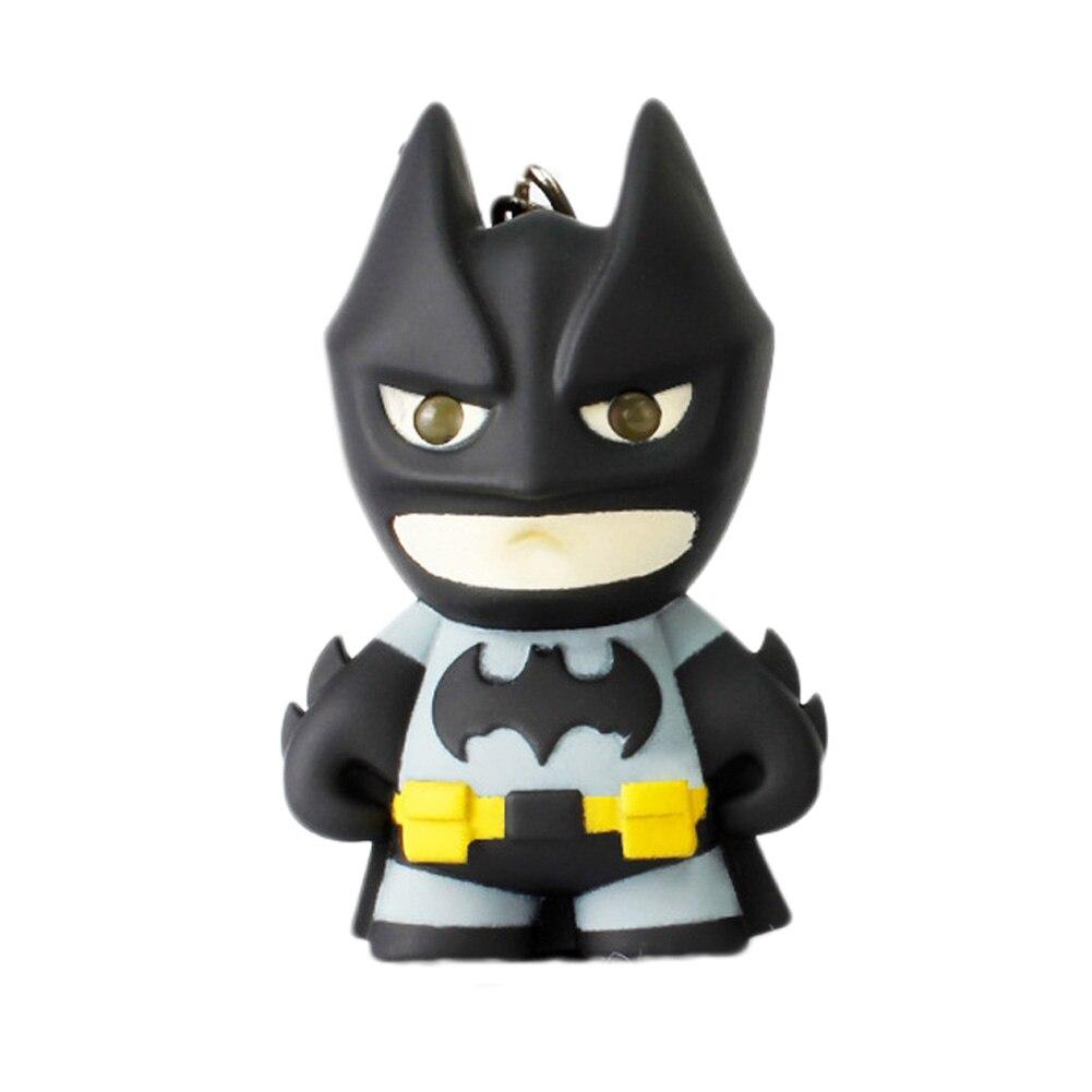 2018 New Arrival Superhero Batman Led Keychain Flashlight Pendant Key Chain Cute Action Figure Keyrings Cool Gift Key Chains
