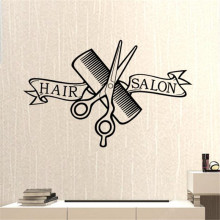 Hair Salon Barber Shop Sticker Scissors Clipper Hair Salon Decal Neutral Haircut Poster Vinyl Wall Decor Windows Decoration