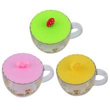 3 Colors Cute Anti-dust Silicone Glass Cup Cover Coffee Mug Suction Seal Lid Cap Silicone Lemon strawberry Bowknot Cup Cover