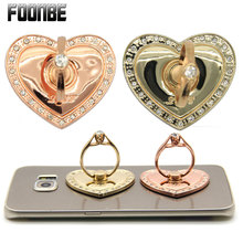 Fashion Phone Holder Heart Diamonds Luxury Phone Ring Sticker Bracket Support SelfieTablet Stand Pothook Rotation Grip(China)