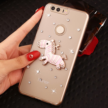 Fashional Transparent  Diamond Cell Phone Case Shell For Huawei Honor 8,Rhinestone Pattern Style Phone Case For Huawei Honor8