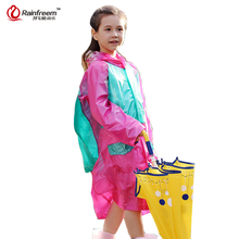 Rainfreem Impermeable Children's Raincoat Plastic Transparent Rain Coat Waterproof Kids Rainwear Rain Gear Poncho(China)