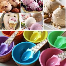 6/12 set A lovely kids Ice Cream Bowls Ice cream Cup Couples Bowl Gifts Dessert ice cream bowl with a spoon Children Tableware(China)