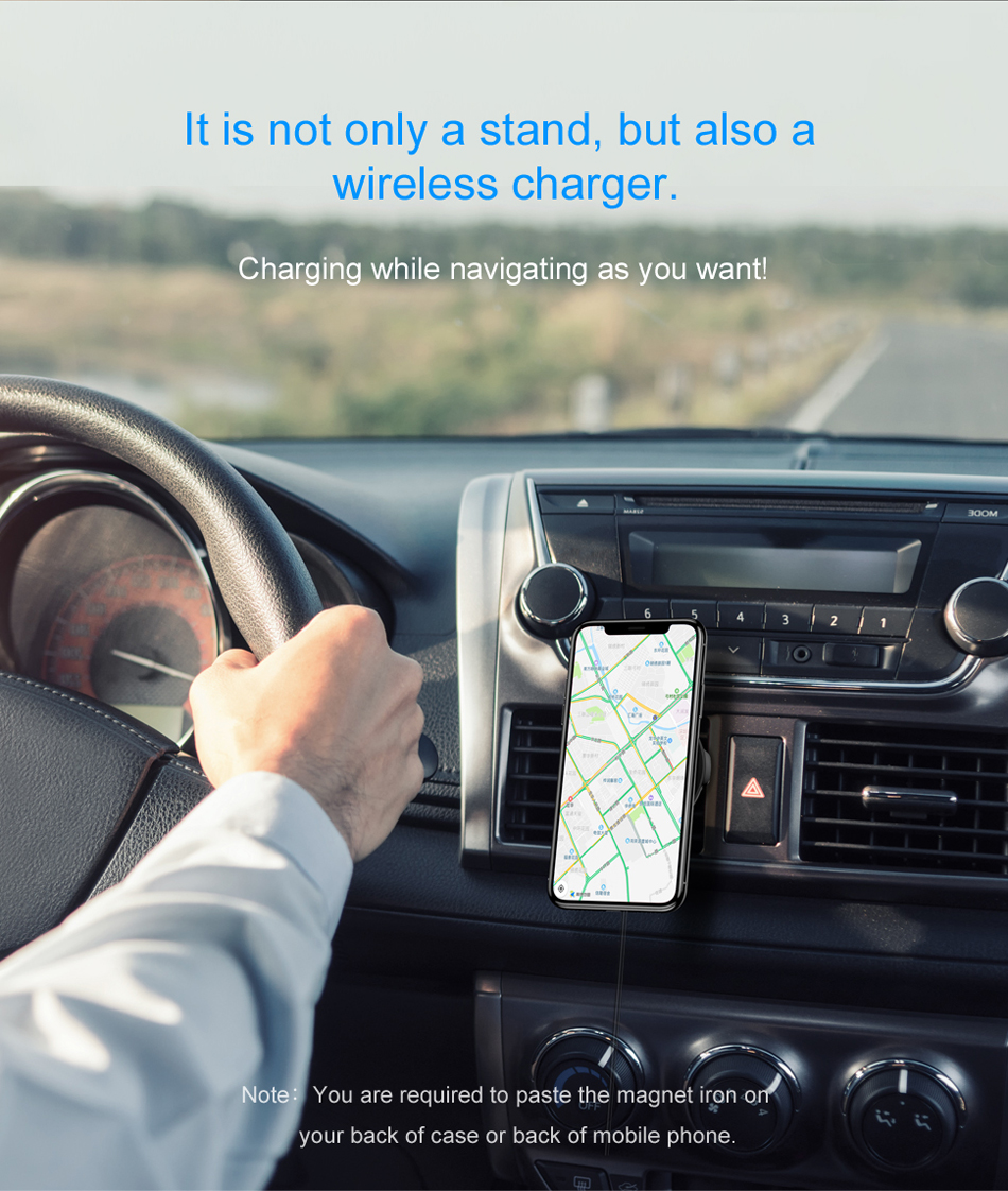 Baseus شاحن سيارة لاسلكي سريع من شركة iPhone X 8 Samsung Note 8 S8 S7 6