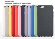 Original 1:1 Copy Official Silicone Case For iPhone 5S SE 6 6S Plus High Quality Phone Cover Case For iPhone 7 7Plus With Logo
