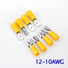 100Pcs/lot 12-10 A.W.G  Brass Male and Female  Quick Disconnects Pre-insulated Terminal Cold Pressed Copper Nose 50set