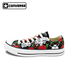 Low Sneakers Women Men Converse Chuck Taylor Skateboarding Shoes Skulls Roses Hand Painted Shoes Man Woman Best Birthday Gifts(China)