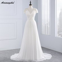 Buy 2017 New Arrival line V neck Cap Sleeve Empire Appliques Lace Backless Bridal Dresses vestido de noiva Beach Wedding Dresses for $72.88 in AliExpress store