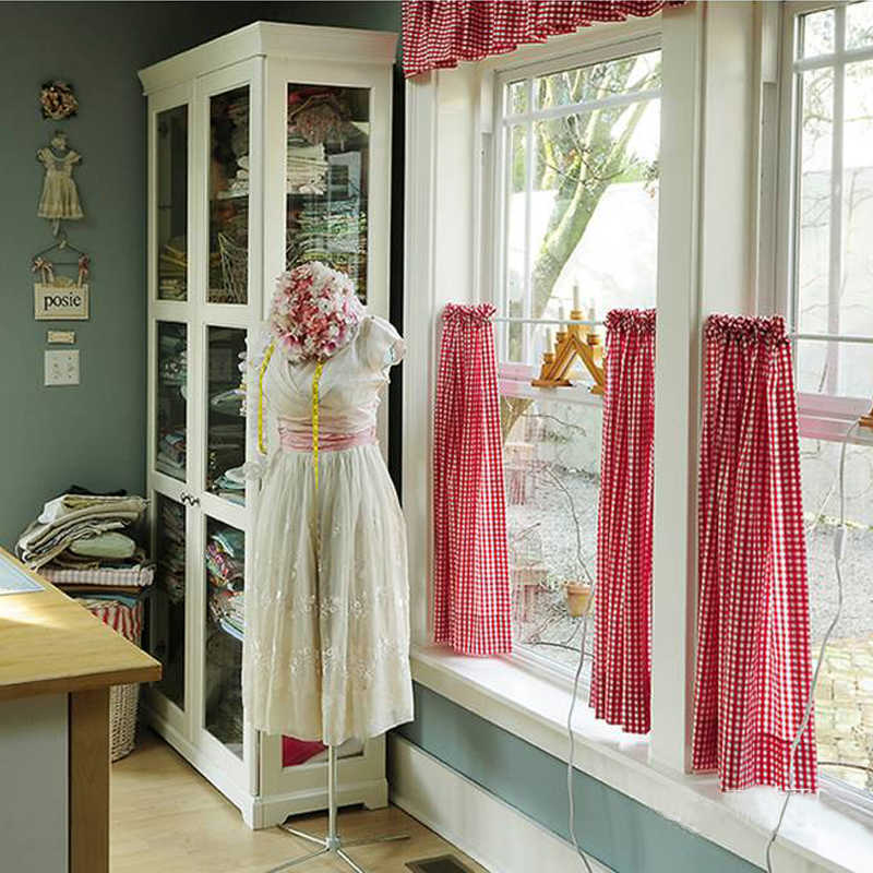 Free shipping Elegant plaid cotton lace pastoral short curtain kitchen curtains for living room bedroom drapes 130*60cm