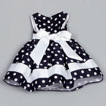 Flower Girl Kids Toddler Baby Dress Clothing Ball Polka Dot Princess Party Wedding Bow Formal Quality Tutu Blue Girl Dress 2016