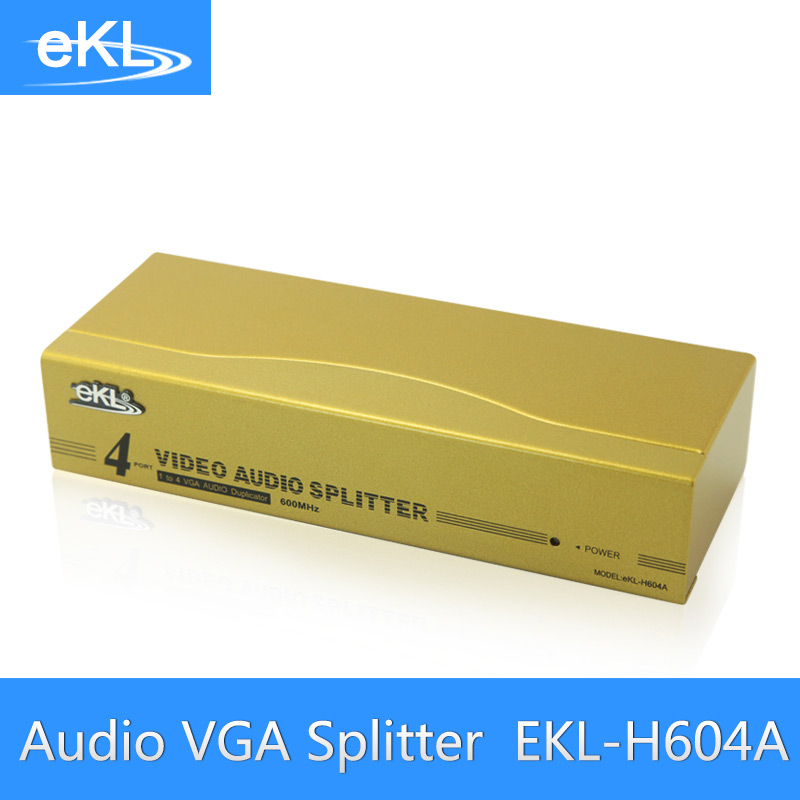 EKL 4 Port VGA Splitter Metal 600MHz High Frequency 1 In 4 Out VGA Distributor With Audio<br>