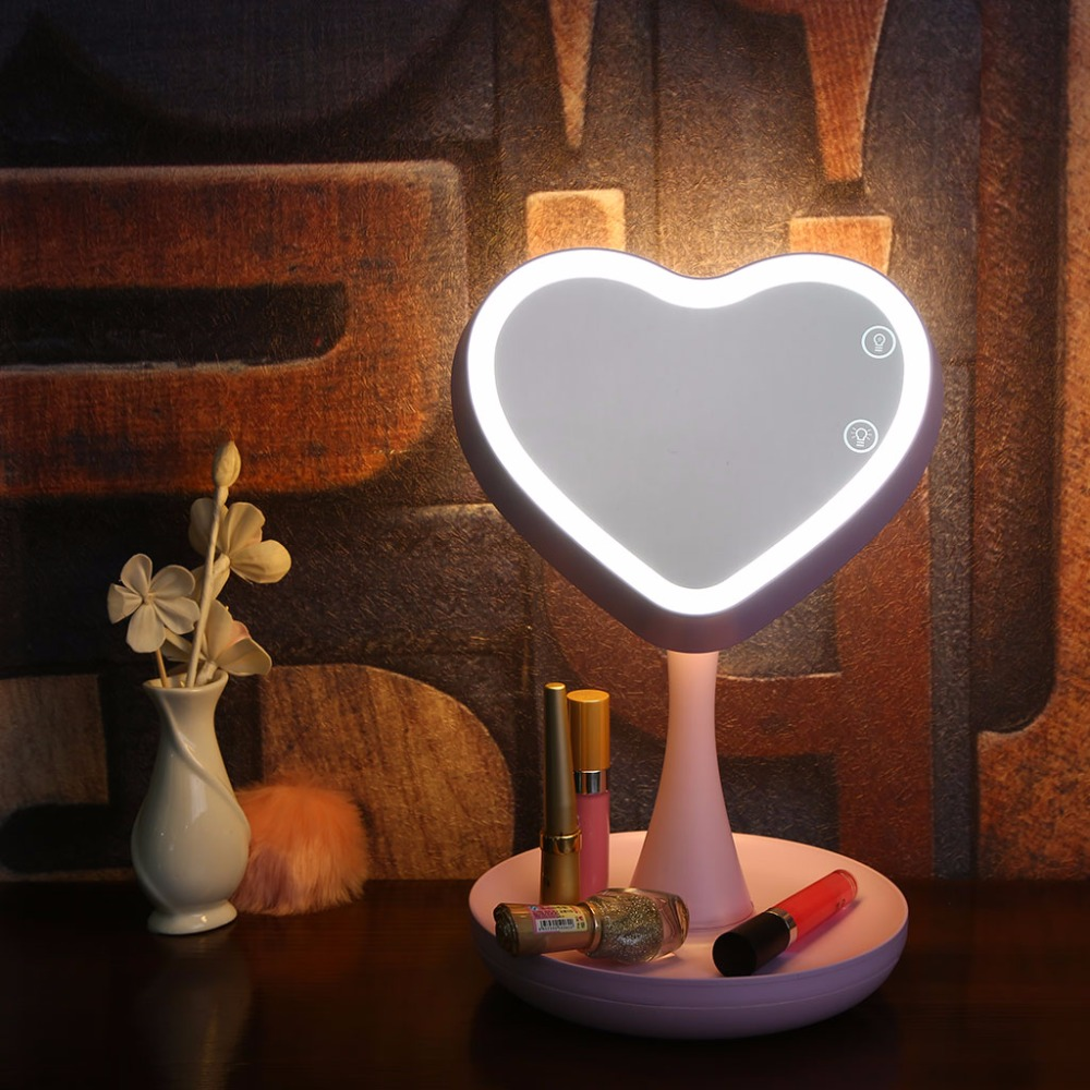 2 in 1 Women Makeup Cosmetic 7-Color Atmosphere LED Light Mirror Magnifying Stand USB Charged Gift<br>