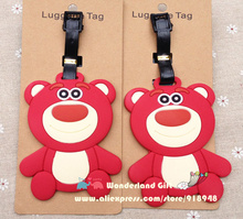 Cute 2pcs Lot-s hug straw bear luggage tag BAG TAG School bag key chain ring kids toy Christmas gift children movie star bad(China)