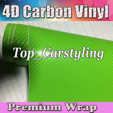 Apple Green 4D Carbon Fibre Vinyl Wrap Carbon Fiber Sticker Vinyle Roll With Air Free Bubble For Car Sticker Size:5ftx98ft(China)