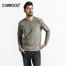SIMWOOD long Sleeve T Shirts Men 2017 Autumn New Fashion Curl Hem Pocket O neck Casual T Shirt Male Plus Size TC017005(China)
