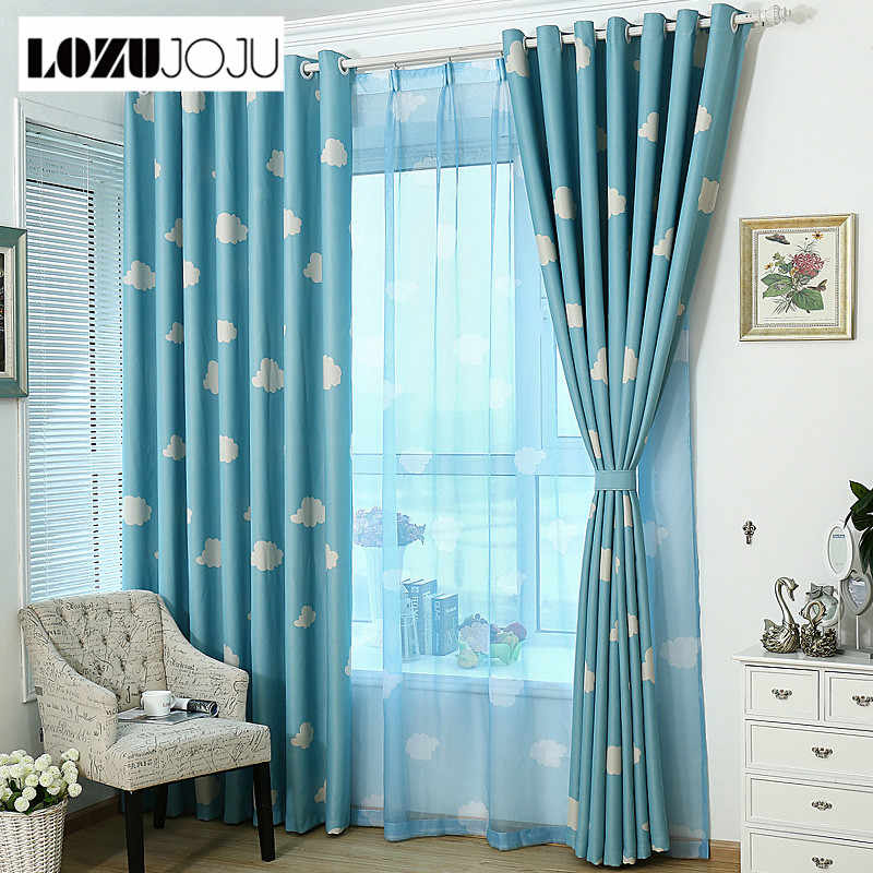 LOZUJOJU cartoon blue cloud blackout  tulle curtains child bedroom window panel treatment curtains drapery with modern design