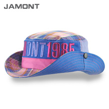 [JAMONT] 2017 New Kids Plaid Summer Sun Hat Wide Brim Cotton Bucket Hats for Baby Boys Girls Z-5217()