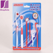Hot Professional 8 Pieces/lot Dental Care Kit Toothbrush Tongue Brush Stain Eraser Mirror Cleaning Teeth Whitening Equipment Set