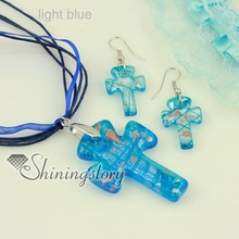 cross glitter venetian lampwork murano glass necklaces pendants and earrings jewelry sets cheap fashion jewellery
