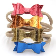 New PU Leather Hair Bows 450pcs/lot Elastic Hair Bands Shinning Synthetic Leather Headbands Top Quality 12 Color Hair Accessory