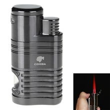 COHIBA Fashion High Quality Windproof Lighter Torch Jet Flame Refillable Inflatable Four Flame Lighter & Cigar Punch Lighter(China)