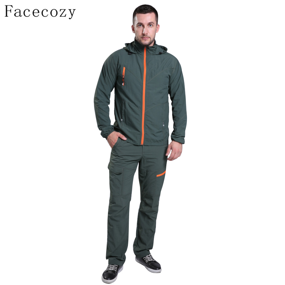 Facecozy Men Summer Outdoor Hiking UV Set Quick Dry Fishing Clothes Breathable Sport Camping Shirt +Pant<br>