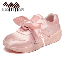 LUONTNOR Pink Womens Bow Sneakers Bow Tie Ladies Flats For Women Satin Sports Shoes with Bowknot Ladies Running Shoes Pink Green