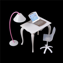 Hot Sale New Cute Dollhouse Miniature Doll Furniture Chair Study Desk/Computer PC Table With Lamp Children Toy Girl Play House
