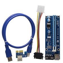 CHIPAL 100PCS 0.6M PCI-E Riser Card PCIe 1x to 16x Extender with USB 3.0 Data Cable / Molex Power Supply for BTC LTC ETH Miner(China)