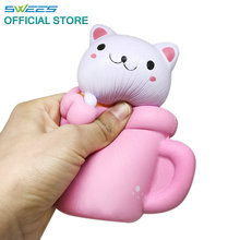 2017 New brand 14CM Jumbo Pink Cup Cat Pussy Squeeze Squishy Kawaii Cute Animal Slow Rising Scented Bread Cake Kid Toy Gift