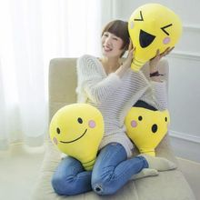 45cm creative cartoon yellow lamp bulb shape pacify plush hold pillow cushion novelty child kids stuffed toy Children's Day
