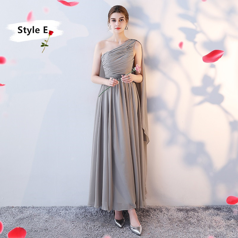 SOCCI Weekend Long Bridesmaid Dresses 2017 Sliver Sleeveless Sister Dress Grey Off shoulder Formal Wedding Party Gowns Robe de 9
