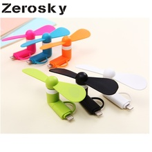 Zerosky Mini 2 in 1 Portable Micro USB Fan For iPhone 5 6 7 Hand Fans for Samsung HTC Xiaomi Android OTG Smartphones USB Gadget