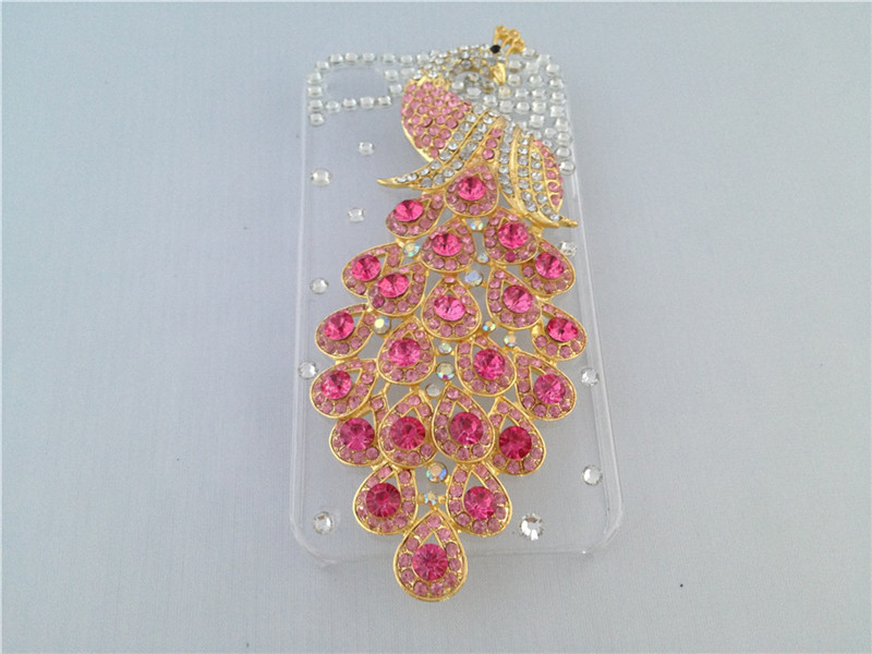 Luxury Bling Crystal Peacock Rhinestone Hard Back Mobile Phone Case iphone 4 & 4S Stock