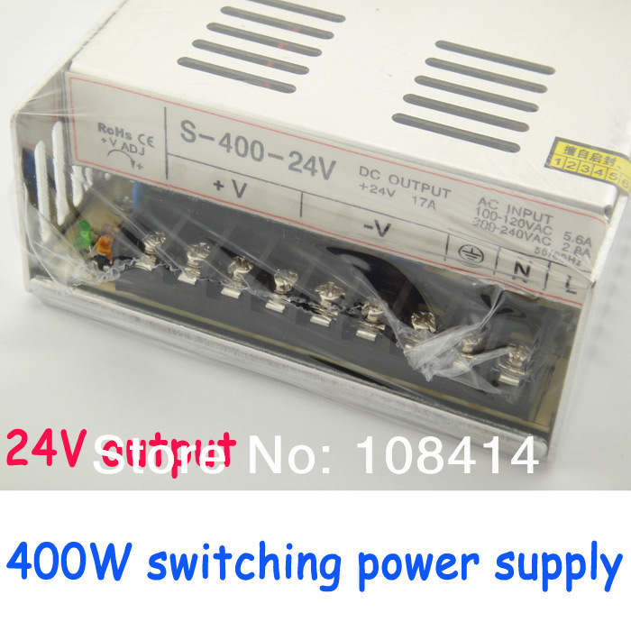 400W switching power supply 24v output with fans, free shipping<br>