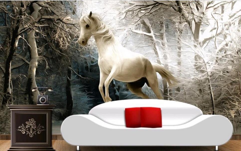 Custom 3D Wallpaper Painting horse 3D Wallpaper Sofa Living room bedroom TV desktop wallpaper <br>