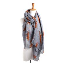 LNRRABC 2017  180x90cm Autumn Winter Warm Soft Scarf Women Elegant Fox Animal Print Large Long Shawl echarpes foulards femme