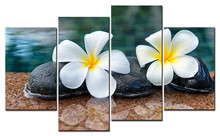 4 Panels Unframed Canvas Photo Prints Flowers on The Water Stone Wall Decorations Artwork Giclee Paintings Home Decor