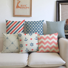 Ocean style sea Woven blue pink navigation Geometric Pillow case Cushion Cover Sofa Car office Home Decoration gift Cojines
