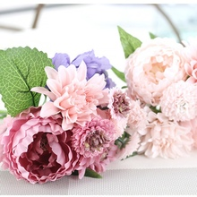 New Beauty 1 Bunch Artificial Peony Flowers True Vivid Silk Flower DIY Leaf Wedding Bouquets Decoration Size 30 CM(China)