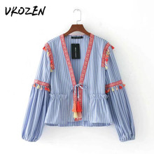 2017 Embroidery Striped Tassel Kimono Cardigan Women Jackes Loose Ruffles Deep V-Neck Casual Lacing Up Tassel Tops Ribbons Coat