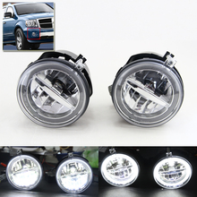 E4 E-Mark Approved For Dodge Dakota Durango For Chrysler 300 Aspen For Jeep Commander Grand Cherokee Led Fog Lights W/ DRL Ring