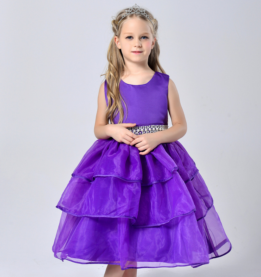 Brand  Fluffy 3 Layer Flower Girl Dress Baby Girls Princess Solid Party Dress Sleeveless Wedding Pageant Party Costumes Clothes<br><br>Aliexpress